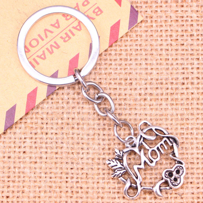 20pcs Nieuwe Mode Sleutelhanger 26*24mm hart mom Hangers DIY Mannen Sieraden Auto Sleutelhanger Ring Houder souvenir Voor Gift