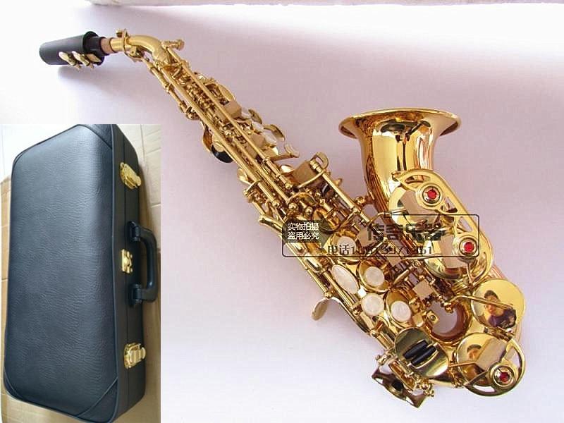 Top B flat sax piccolo Sassofono Soprano curvo Sax per adulti bambini strumenti musicali a fiato consegna gratuita Soprano Sax scatola Dura