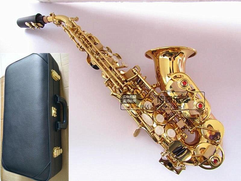 Top bémol saxo petit Saxophone Soprano courbé sax adulte enfants instruments de musique à vent livraison gratuite Sax Soprano boîte Dure