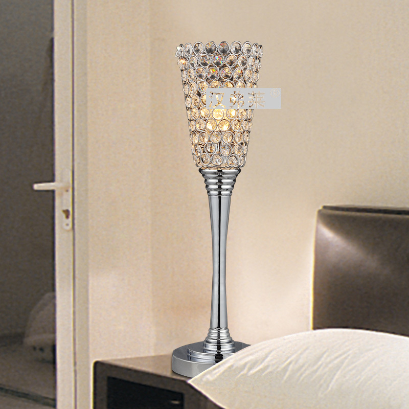 6 Decoration Creative Crystal torch Modern Bedroom Beside Table Light Stylish Polished Chrome Bar Counter Study Room Desk Light