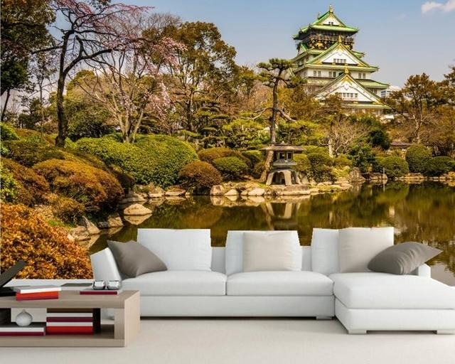 Teich Steine Osaka Schlosspark Bäume Natur fototapete, wohnzimmer tv ...