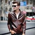 La chaqueta de cuero del Collar del soporte ocasional Parka bombardero chaquetas de la motocicleta abrigos Jaqueta de couro masculina más tamaño