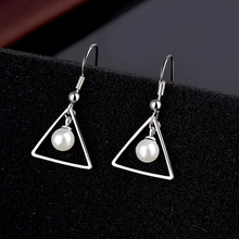 Fashion Women Earrings 2020 Simple Triangle Geometric Earrings Imitation Pearl Earrings For Women Accessories Jewelry Gift pair of gorgeous artificial pearl triangle earrings for women