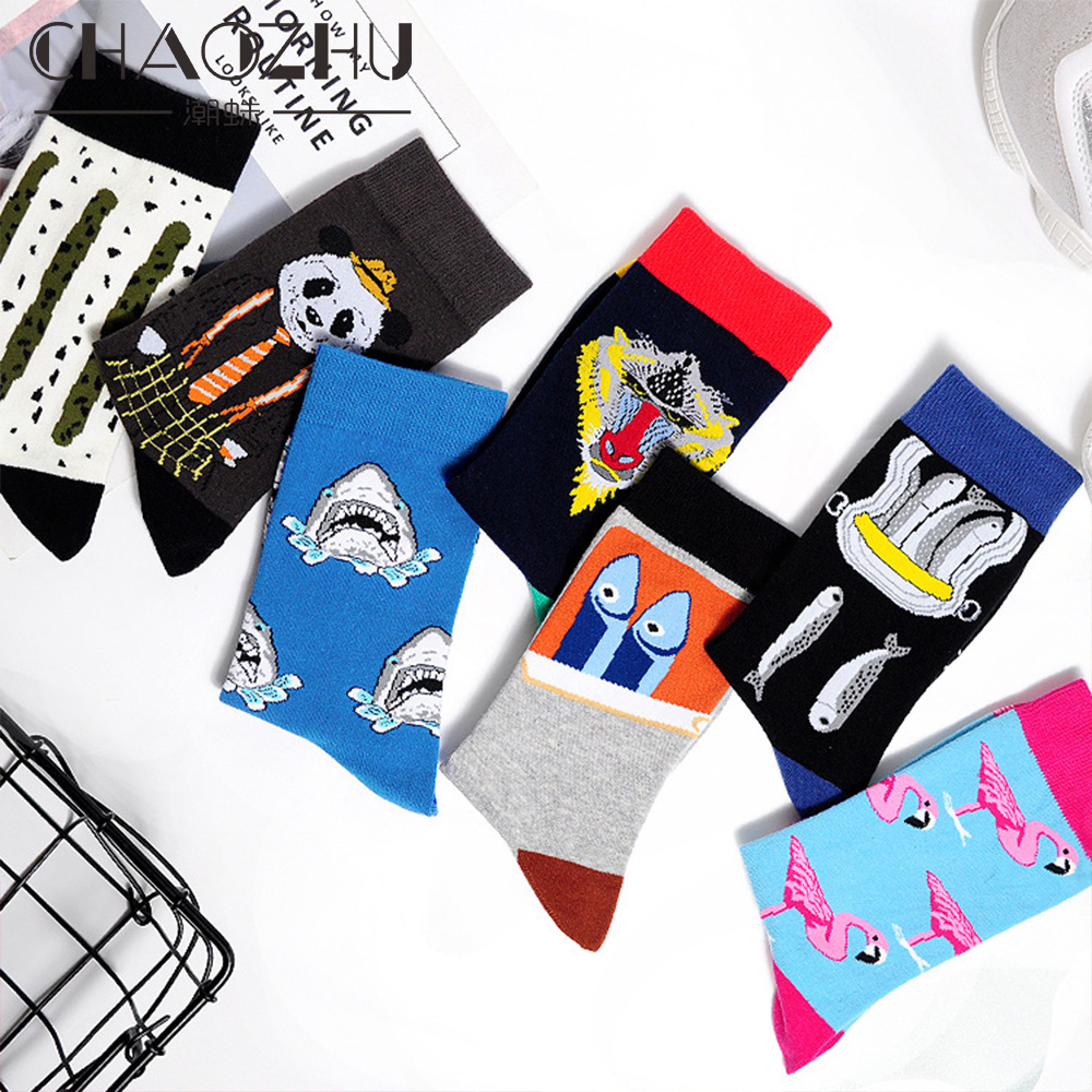 2018 Men's Fashion Multi-Colors Street Trendy Crew Socks Lemon/Skull/Twist Daily Party Outside Casual Cotton Fancies Men Sox