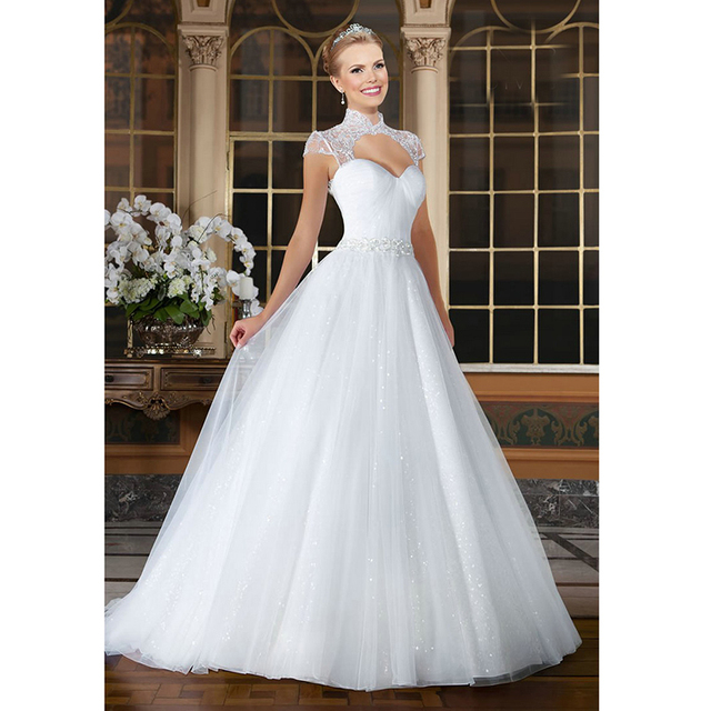 daf744c2b650 Sparkly White Ball Gown Wedding Dresses Backless Cap Sleeve Beaded  Embroidery Sweetheart Designer Wedding Dress