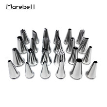 hot deal buy marebell 24pcs icing piping nozzles cream pastry bag stainless steel nozzle pastry tips diy decorating baking cake tool bakeware