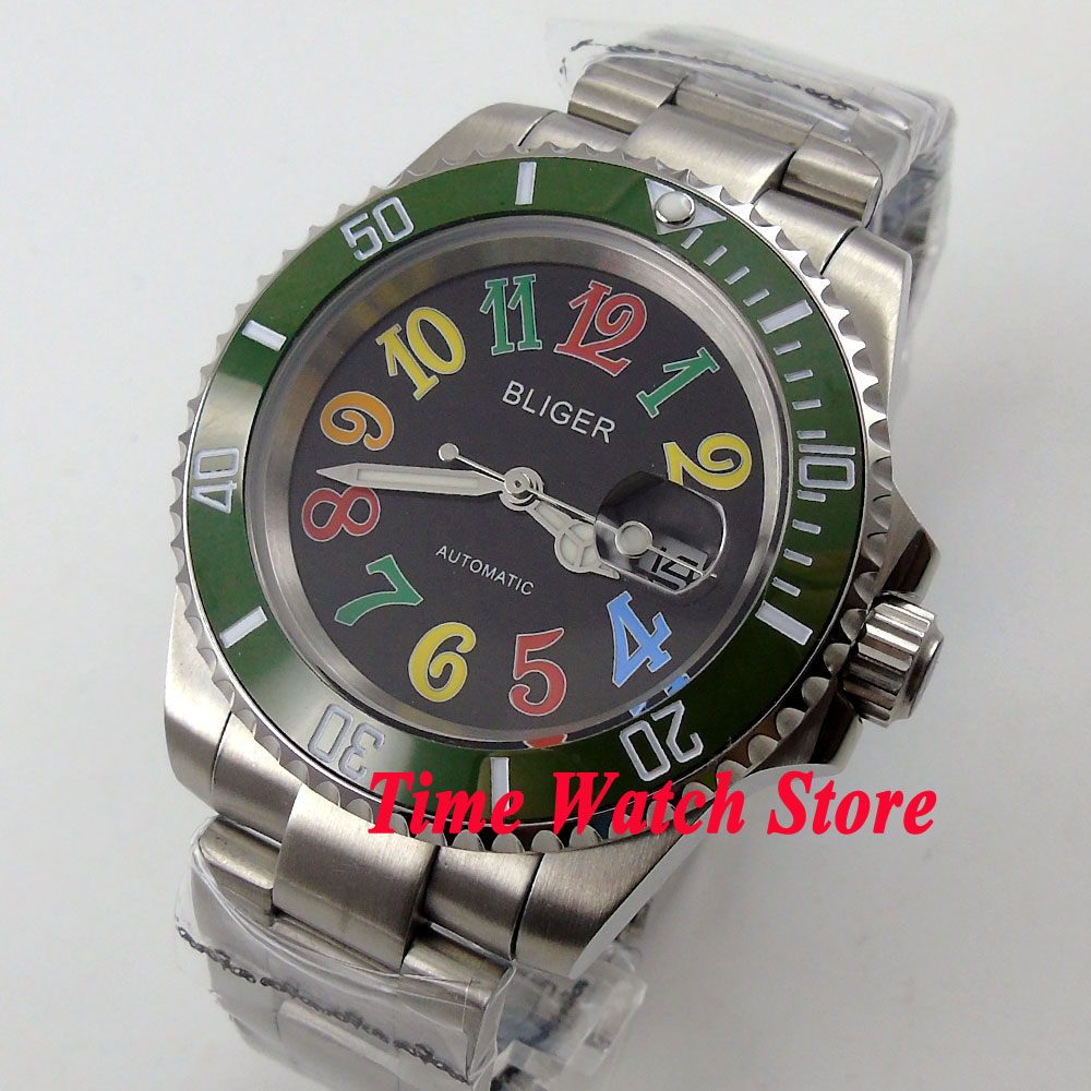 лучшая цена Bliger 40mm black dial date luminous saphire glass green Ceramic Bezel Automatic movement Men's watch BL105