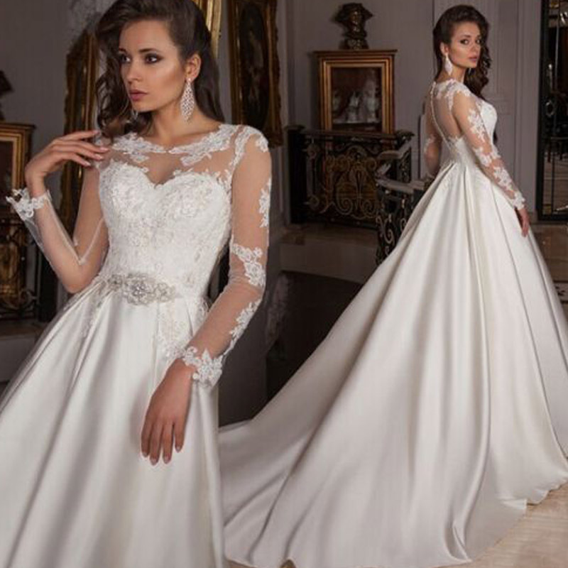 Cheap Wedding Dresses 2017 Lace Wedding Gowns Princess: Latest O Neck See Througth Full Sleeves Lace Princess