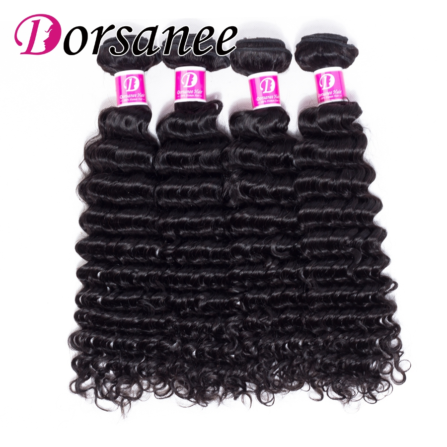 Dorsanee Deep Curly Peruvian Hair Weave Bundles 8-26 Natural Human Hair Weft Non Remy Extension Hair Can Be Dyed No Tangle
