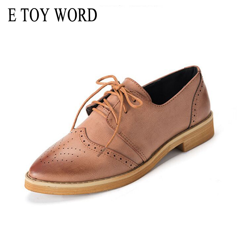 E TOY WORD Women Oxford British Flat Shoes 2018 New Brogue shoes Women's Shoes Ladies Pointed Toe Flats Lace-Up sapatos mulher new 2018 fashion vintage neutra women flat lace up brogue oxford shoes for ladies casual flat shoes size 34 43