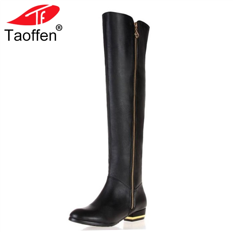 TAOFFEN Size 30-45 Women Real Genuine Leather Flat Over Knee Boots Fashion Long Boot Winter Botas Feminina Footwear Shoes R1537 size 30 45 women real genuine leather flat over knee boots long boot warm winter botas mujer brand footwear heels shoes r7761