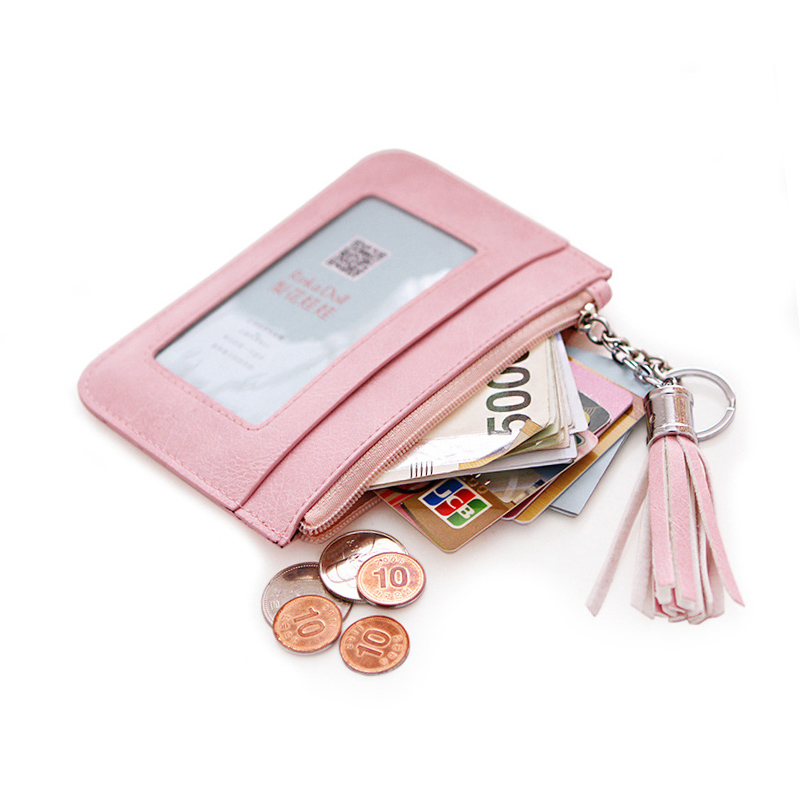 Solid Zipper Coin Purse Ladies Pu Leather Tassel & Metal Ring Clutch Wallets Women Keychain Thin Key Bag Card Holders Mini Pouch