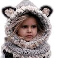 Bebé sombrero de invierno cat fox almohadillas a prueba de viento sombreros del bebé y de la bufanda