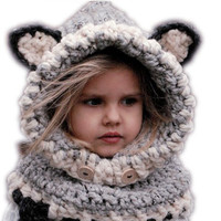 BS S New Design Cat Fox Ear Winter Windproof Baby Hats And Scarf Set