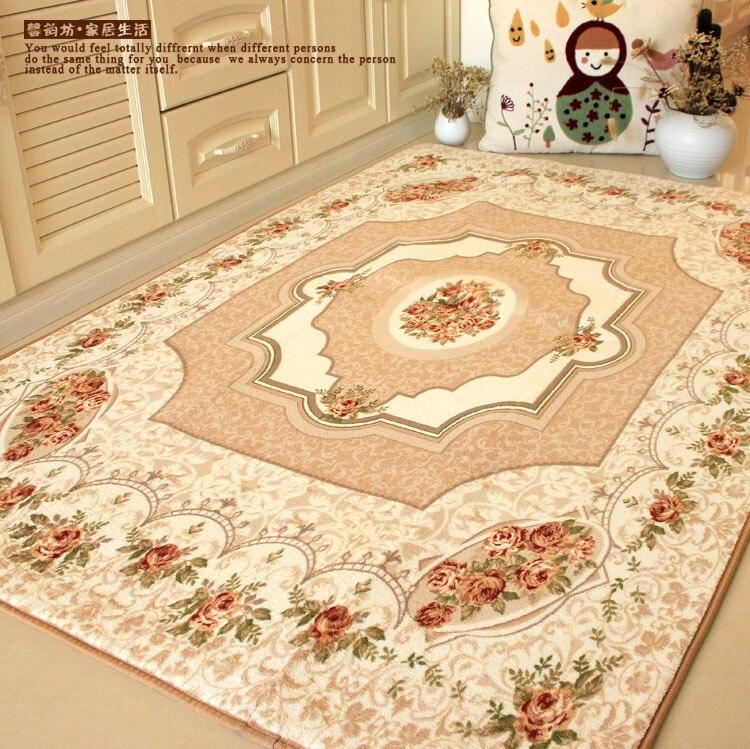 Tapis rustiques européens de marque, tapis élégant de chambre à coucher de Roses méditerranéennes, grands tapis modernes de luxe
