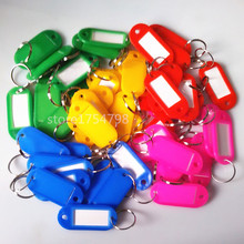 100pcs/lot New Arrival Assorted Red Pink Green Blue Yellow Crystal Plastic Key ID Label Tags Card Split Ring Keyring Keychain