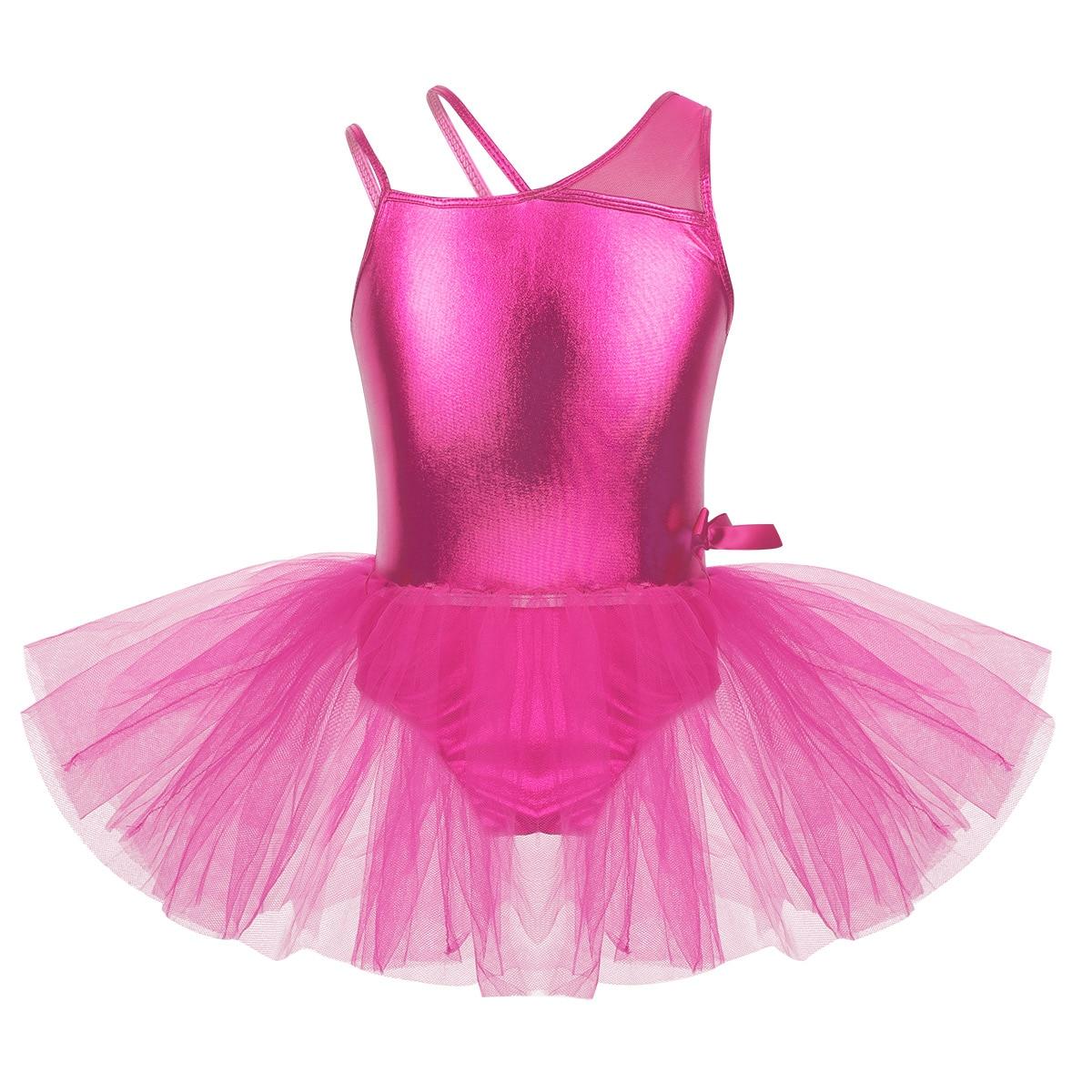 Girls Sequin Ballet Tutu Dress Kid Leotard Skirt Gymnastics One Shoulder Costume