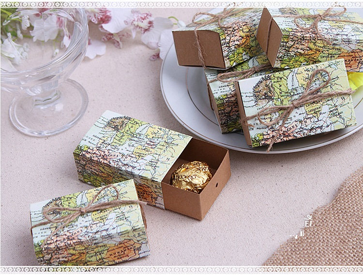 500pcs Wedding Favors Gifts Travel Theme Around the World World Map Candy Box Chocolate box case + DHL Free Shipping