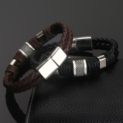 Rock Fashion Weave Genuine Leather Men's Bracelets Stainless Steel Retro Braided Bracelet for Male Punk Pulseira Masculina