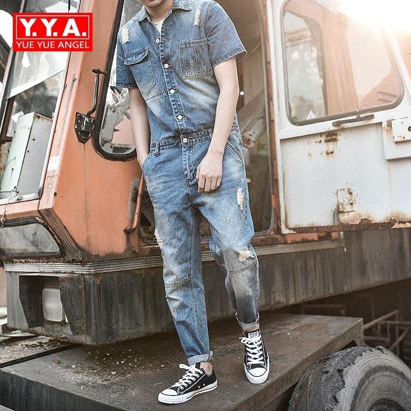 Japan Style Vintage Rompers Mens Jumpsuit Fashion Frayed Skinny Jeans Ankle Length Pants Teenager Denim Overalls for Cowboy Blue appliqued frayed denim overalls