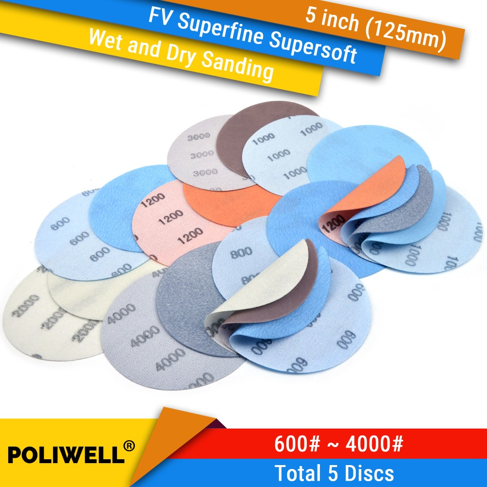 5PCS 5 Inch 125mm FV Superfine Hook & Loop Wet/Dry Auto Soft Film Sanding Discs Automotive Paint Abrasive Sandpaper 600#-4000#