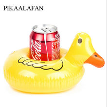 PIKAALAFAN Yellow Duck Inflatable Cup Holder Pool Party Drink Floats Inflatable Coasters Float Drink Cup Holder Water Toys(China)