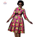 2017 plus size work clothes african autumn party dresses O- neck mix  match clothing  dress for women little big cotton WY1199