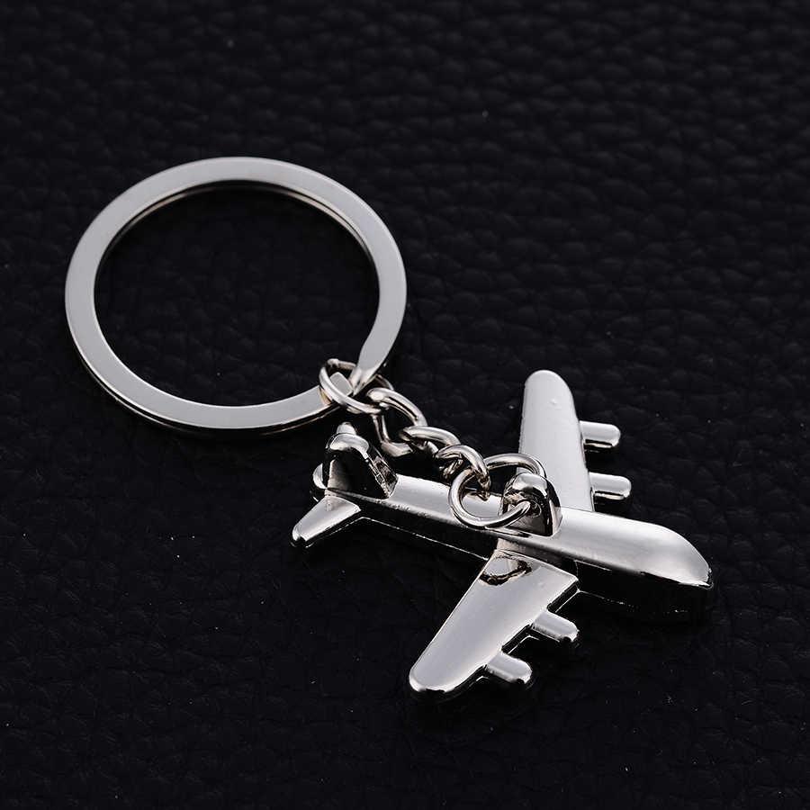 Personalidad aleación de Zinc avión llavero anillo soporte creativo informal avión coche llavero encanto joyería regalo J035