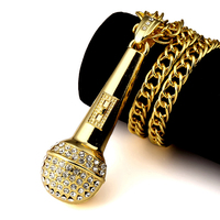 18K Gold Plated Microphone Necklace Hiphop Rock Long Necklaces For Men Black Crystal Zircon Pandents Charm