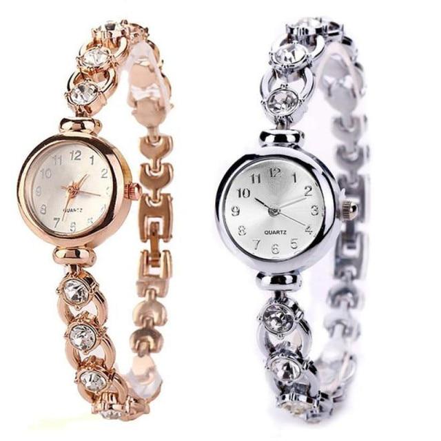 Women watches 2018 luxury brand Bracelet Watch Women Relogio Gold Alloy Rhinesto