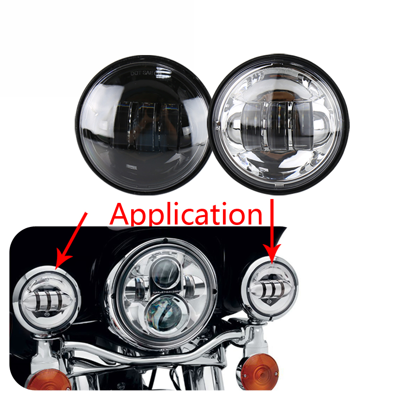 DOT 2Pcs 30W 4.5 Inch Led Motorcycle Headlights DC10-30V waterproof Moto Led Headlamp Fog Lights For Harley