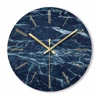 1 Pcs Nordic Minimalist Marble Wall Clock Art Clock Ornament Restaurant Cafe Shop Circle Wall Clock Modern Design Home Decor