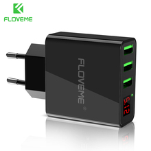 FLOVEME 5V3A LED Display 3 Ports USB Charger For iPhone X Xs Max Universal Fast Charging Mobile Phone Charger For Xiaomi Huawei