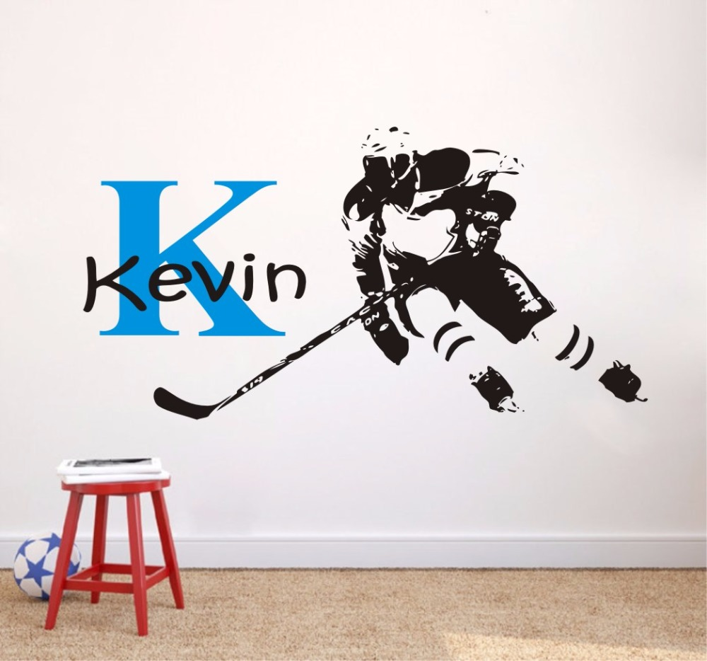 Hockey Wall Murals Custom First Name Hockey Player Personalized Wall