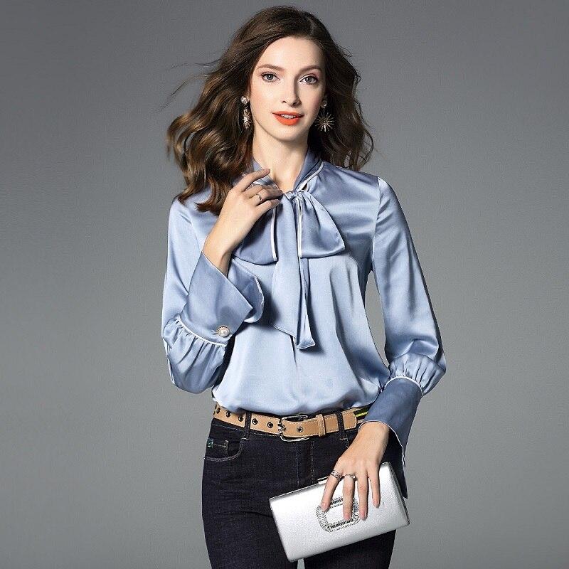 Qualité Printemps Femmes Nouveau Dames Arrondi Élégant Manches Hiver Blouses Rose Solide Col Longues Chemise Travail Arc Bleu Automne Top dECwRqd