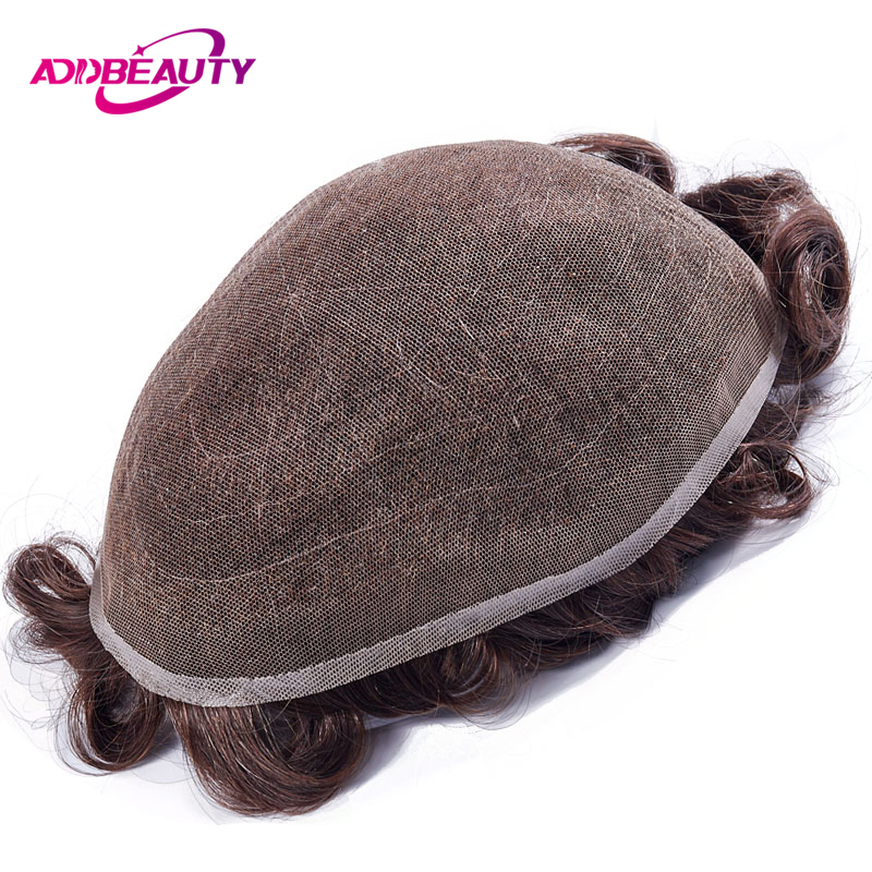 AddBeauty Full Lace Men Toupee Remy Indian Hair Replacement System 8x10 Inches Human French Lace Super Hairpieces Wig Handmade