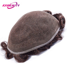 AddBeauty Full Lace Men Toupee Remy Indian Hair Replacement System 8x10 inches Human French Lace Super Hairpieces Wig Handmade(China)