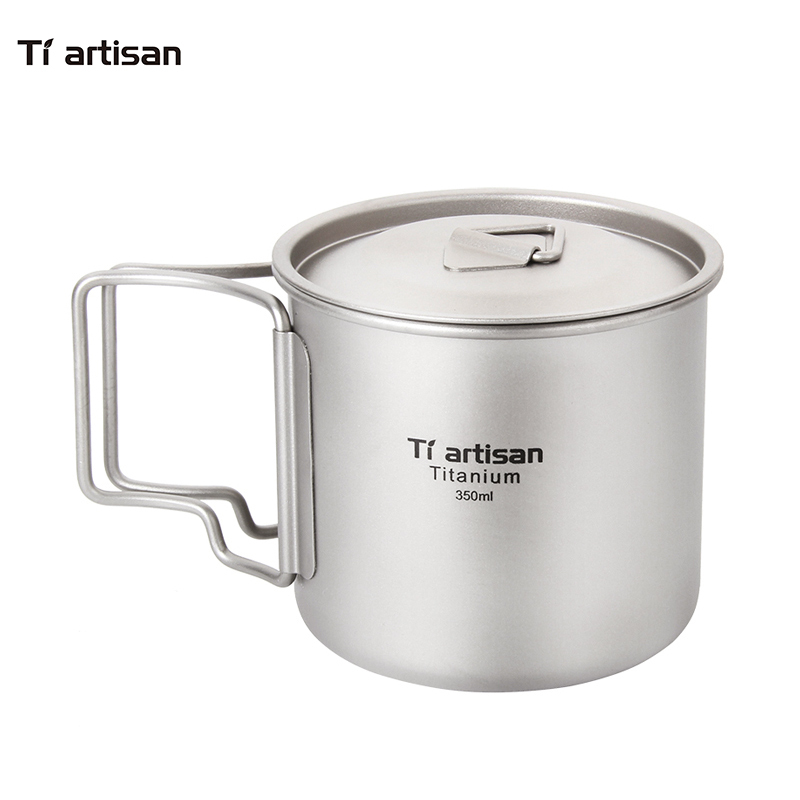 Tiartisan Pure Titanium Cup 350ml Outdoor Ultralight Coffee Mug Portable Folded Handle Picnic Drinkware with Lid