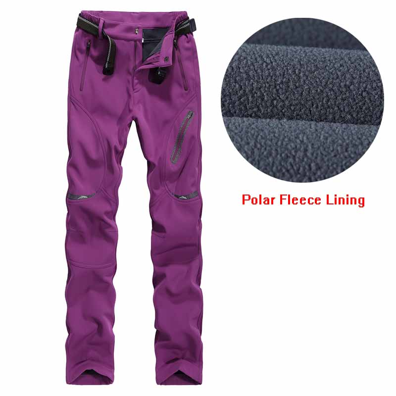 Women Hiking Pants Soft Shell Outdoors Trousers Lady Polar Fleece Lining Keep Warm Winter Climbing Trekking Camping Pant Female men plus size 4xl 5xl 6xl 7xl 8xl 9xl winter pant sport fleece lined softshell warm outdoor climbing snow soft shell pant