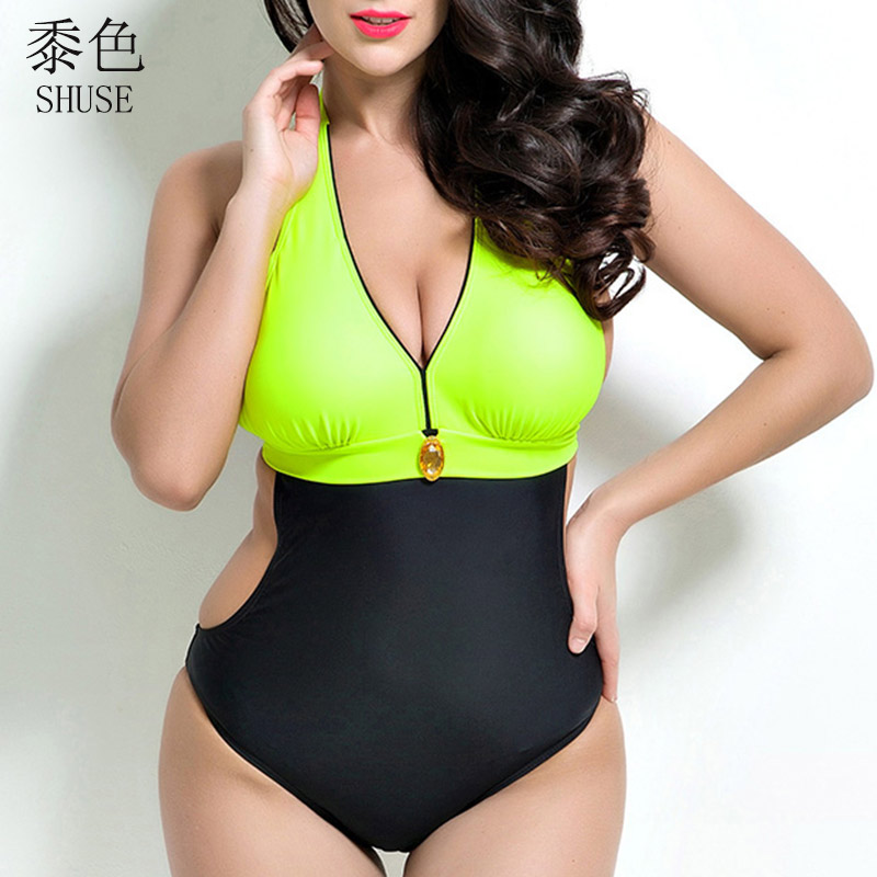 2017 Sexy Bodysuit One-Piece Large Size Swimsuit Patchwork Plus Size Swimwear Female Bathing Suit One Piece Monokini jocelyn katrina female professional sport one piece suits swimwear one piece monokini plus size bodysuit bathing suit beach