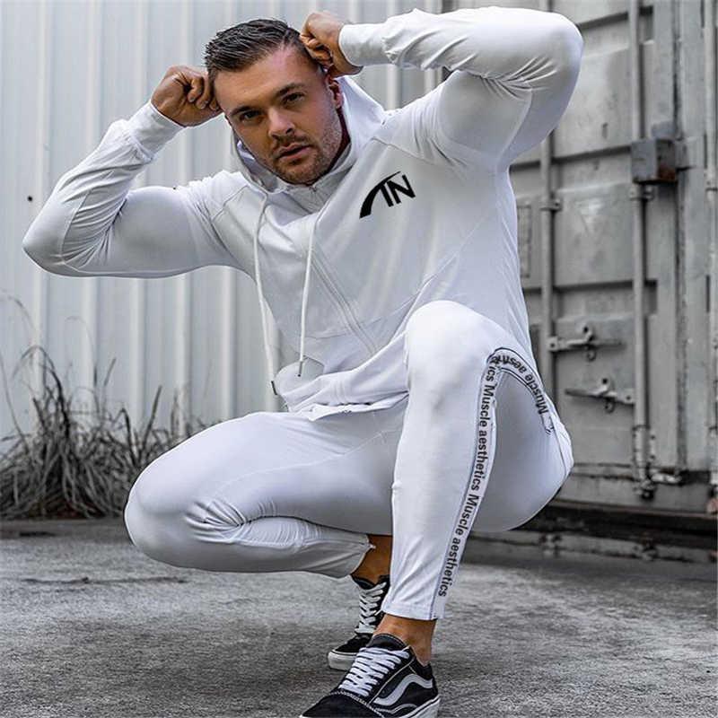 2019 ฤดูใบไม้ร่วงชุดกีฬาชายชุดชายชุด Hoodies ชุด Mens Gyms กีฬา Jogger ชุดชาย Tracksuit ชุด
