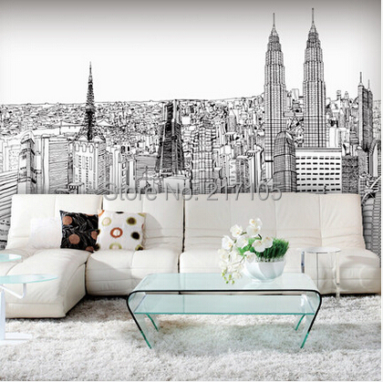Free shipping large murals sofa setting wall is contracted and contemporary city line draft twin towers in Kuala Lumpur