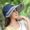 SEGLA New Straw Hats Solid Denim Foldable Wide Brim Anti-uv Sun Hat Elegant Women Panama Summer Beach Hats Adjustable Panama Cap