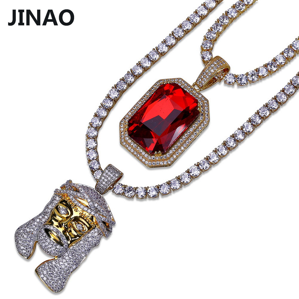 JINAO Gold Color Plated Iced Out Copper Micro Pave CZ Stone Red Stone Pharaoh Head Pendant Necklace Hip Hop Jewelry Tennis Chain jinao gold silver color plated all iced out hip hop copper micro pave cz stone 4mm 6mm tennis chain necklace with 18202430