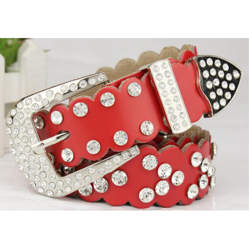 2018 New rhinestones Genuine leather belts for women Luxury Wide Pin buckle woman Belt High quality Second layer Cowskin strap in Women 39 s Belts from Apparel Accessories