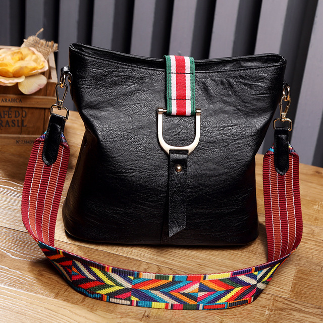 522b78bdf4 2018new wide shoulder strap handbags fashion wild shoulder portable bucket  bag soft leather bag simple retro crossbody women bag