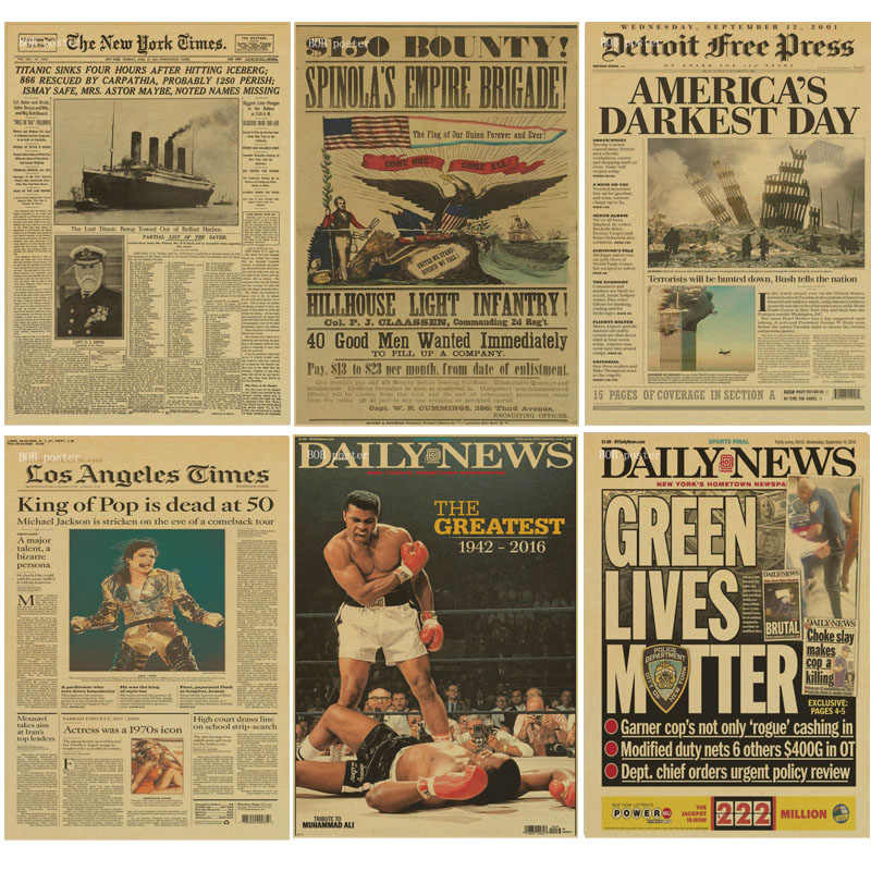 Retro poster New York Times newspaper poster/ daily news/ Kraft Old Newspaper poster Series kraft wall paper vintage poster