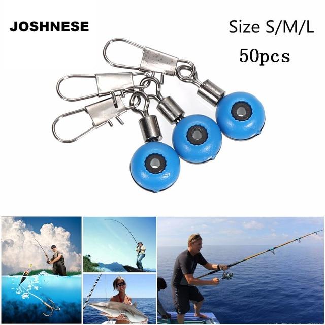 JOSHNESE 50pcs/lot Fishing Line to Hook Swivels Fishing Shank Clip Connector Interlock Snap Sea Space Bean Lure Fishing Swivel