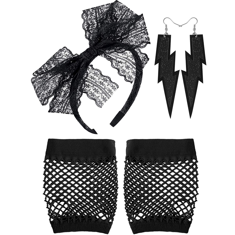 80/'S Black Lace Hair Scarf and Gloves Headband Madonna Tie Band Costume Kit