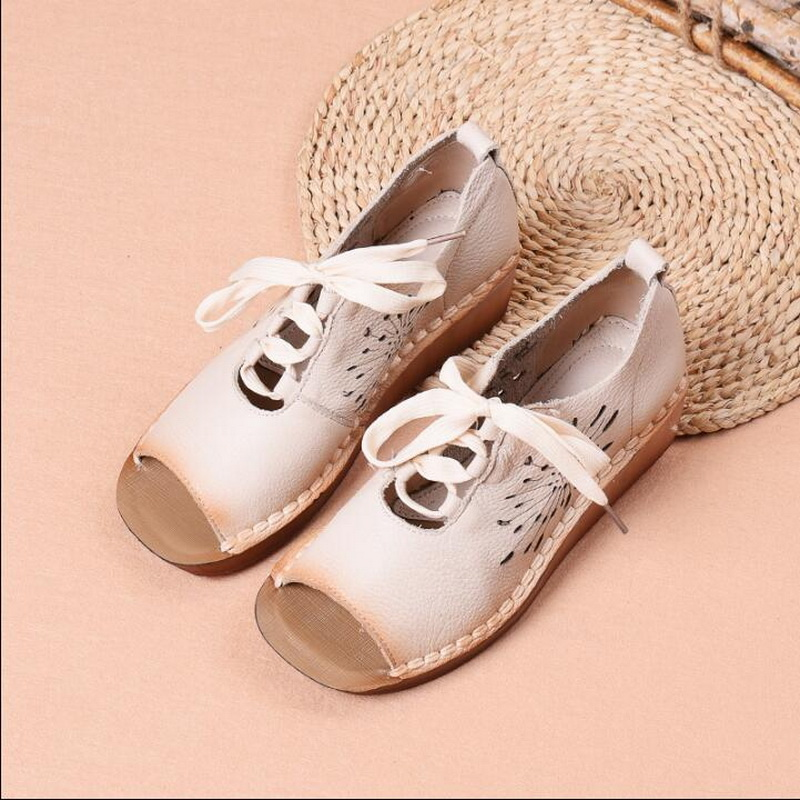 2019 summer new Genuine Leather Gladiator Sandals retro handmade Lace Up Flat Heels Sandals Ladies Casual flat Shoes
